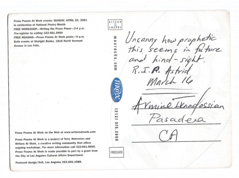 March Eulogy postcard poem back